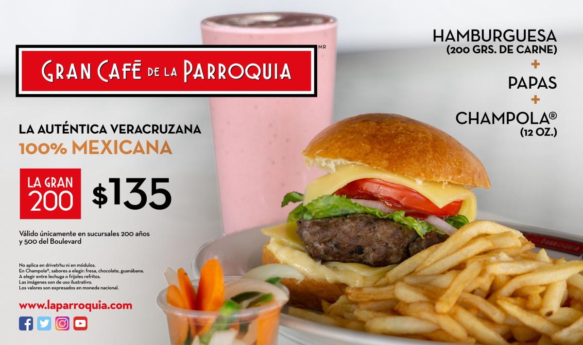 hamburguesa y chapola gran cafe de la parroquia